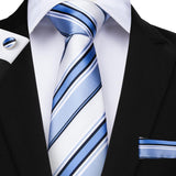 White Blue Striped Men's Tie Handkerchief Cufflinks Set