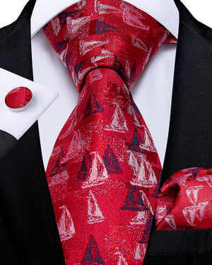 Load image into Gallery viewer, Men's Red sailboat Tie Set (1759049809962)