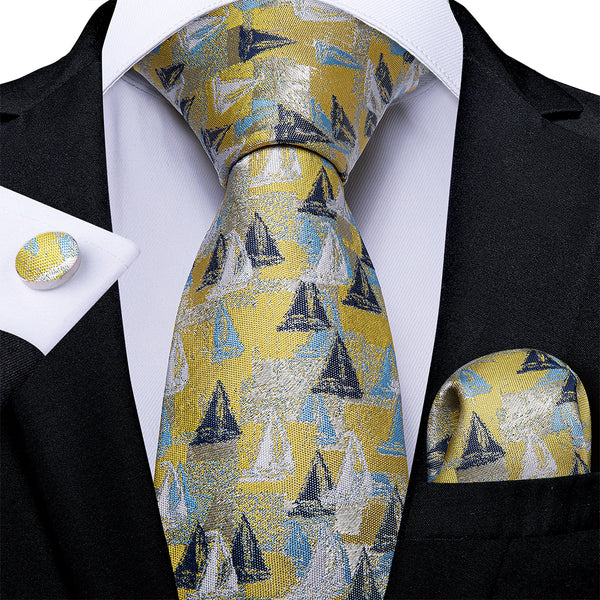 Yellow Blue Novelty  Men's Tie Handkerchief Cufflinks Set