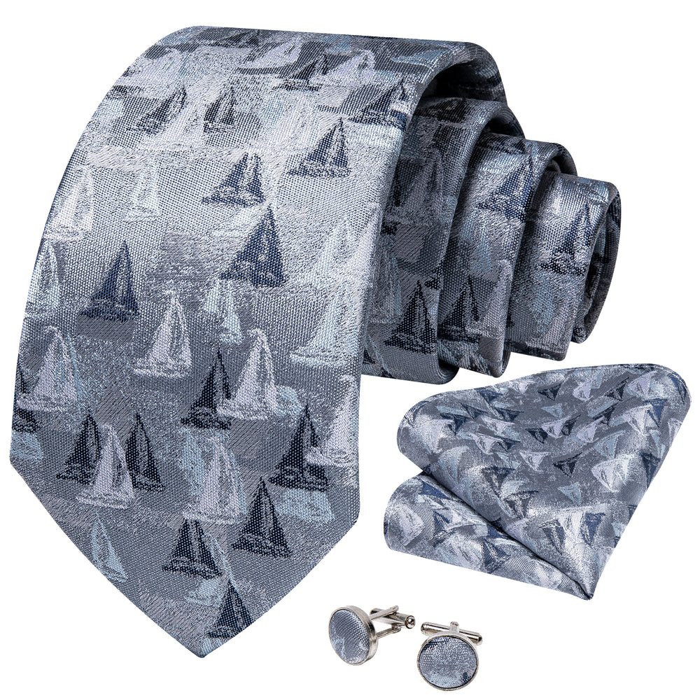 Grey Black Novelty Men's Tie Handkerchief Cufflinks Set (1931695390762)