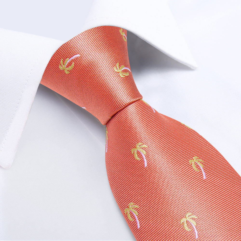 Red Yellow Novelty  Men's Tie Handkerchief Cufflinks Set (1931698012202)