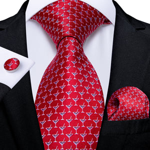 Red Blue Novelty  Men's Tie Handkerchief Cufflinks Set