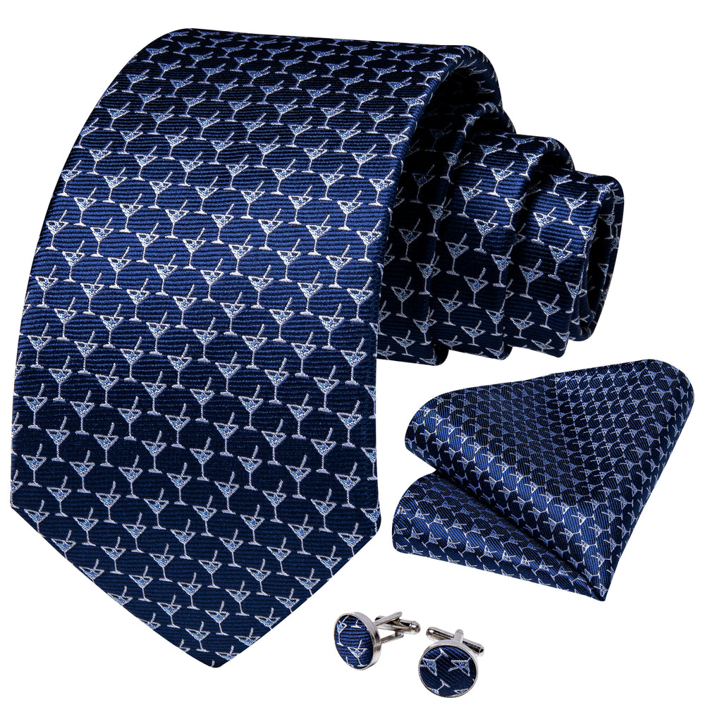 Blue White Wine Glass Tie Pocket Square Cufflinks Set (1813640282154)