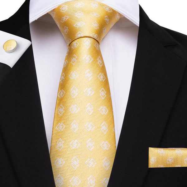 Yellow Grey Novelty  Men's Tie Handkerchief Cufflinks Set