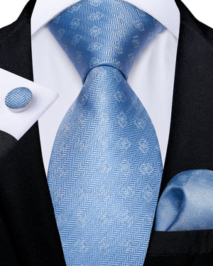 Light Blue Grey Novelty  Men's Tie Handkerchief Cufflinks Set (1931714002986)