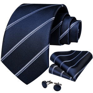 Load image into Gallery viewer, Beautiful Men's Blue Striped Tie Set (1725433446442)