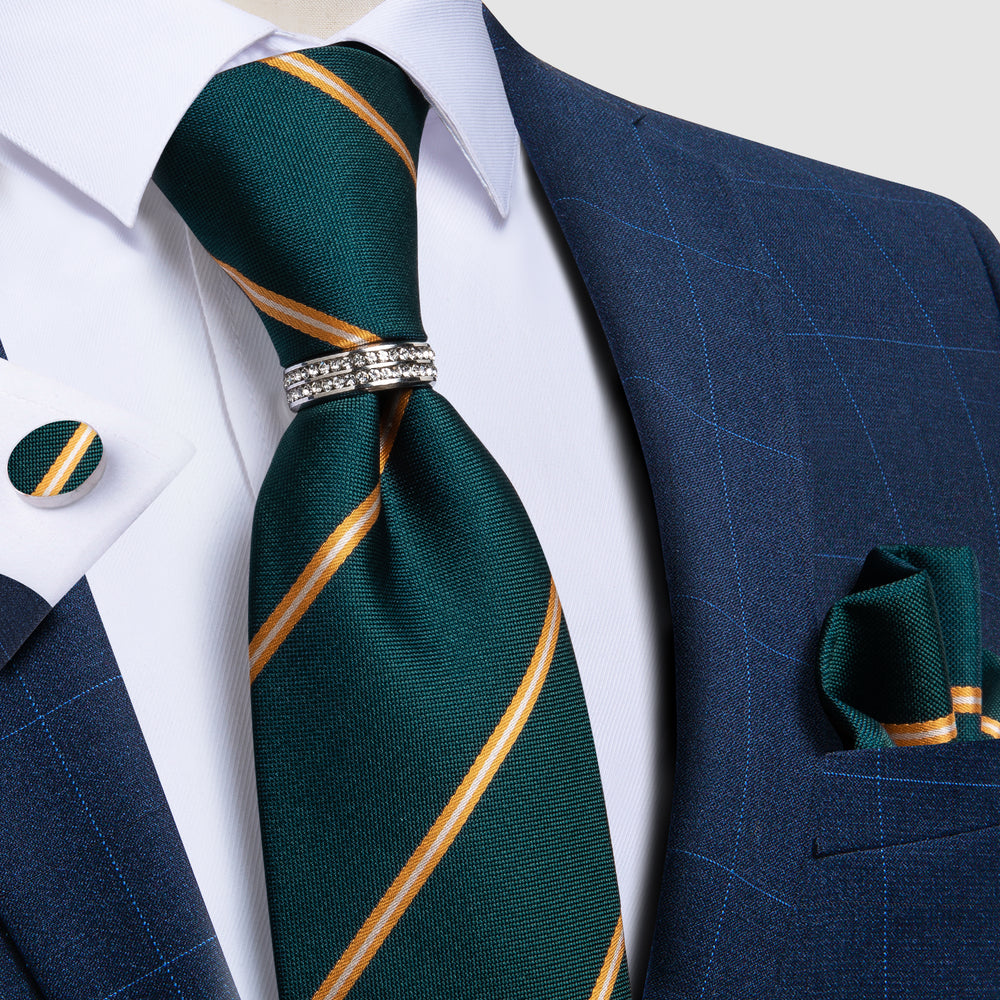 Green Orange Striped Silk Men's Tie Pocket Square Cufflinks with Tie Ring Set