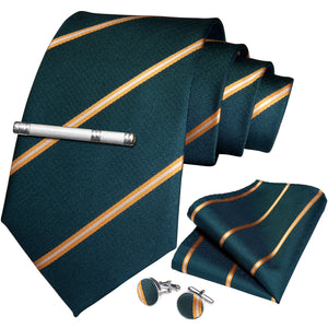Green Yellow Striped Men's Tie Handkerchief Cufflinks Clip Set