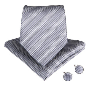 Load image into Gallery viewer, Silver Gray Striped Men's Tie Handkerchief Cufflinks Set