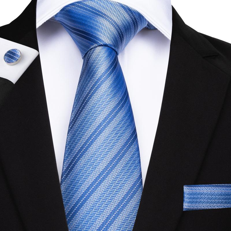 Load image into Gallery viewer, Classic Blue Striped Men's Tie Handkerchief Cufflinks Set
