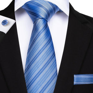 Load image into Gallery viewer, Classic Blue Striped Men's Tie Handkerchief Cufflinks Set (1932174524458)