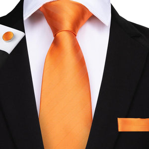 Orange Striped Men's Tie Handkerchief Cufflinks Set