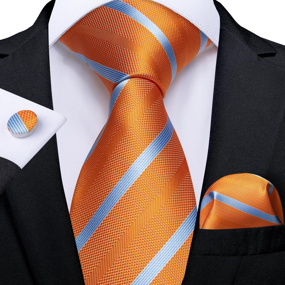 Orange Striped Tie Pocket Square Cufflinks Set