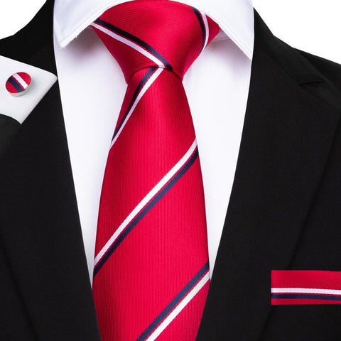 Red White Striped Men's Tie Handkerchief Cufflinks Set