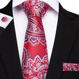 Red Blue Paisley Men's Tie Handkerchief Cufflinks Set