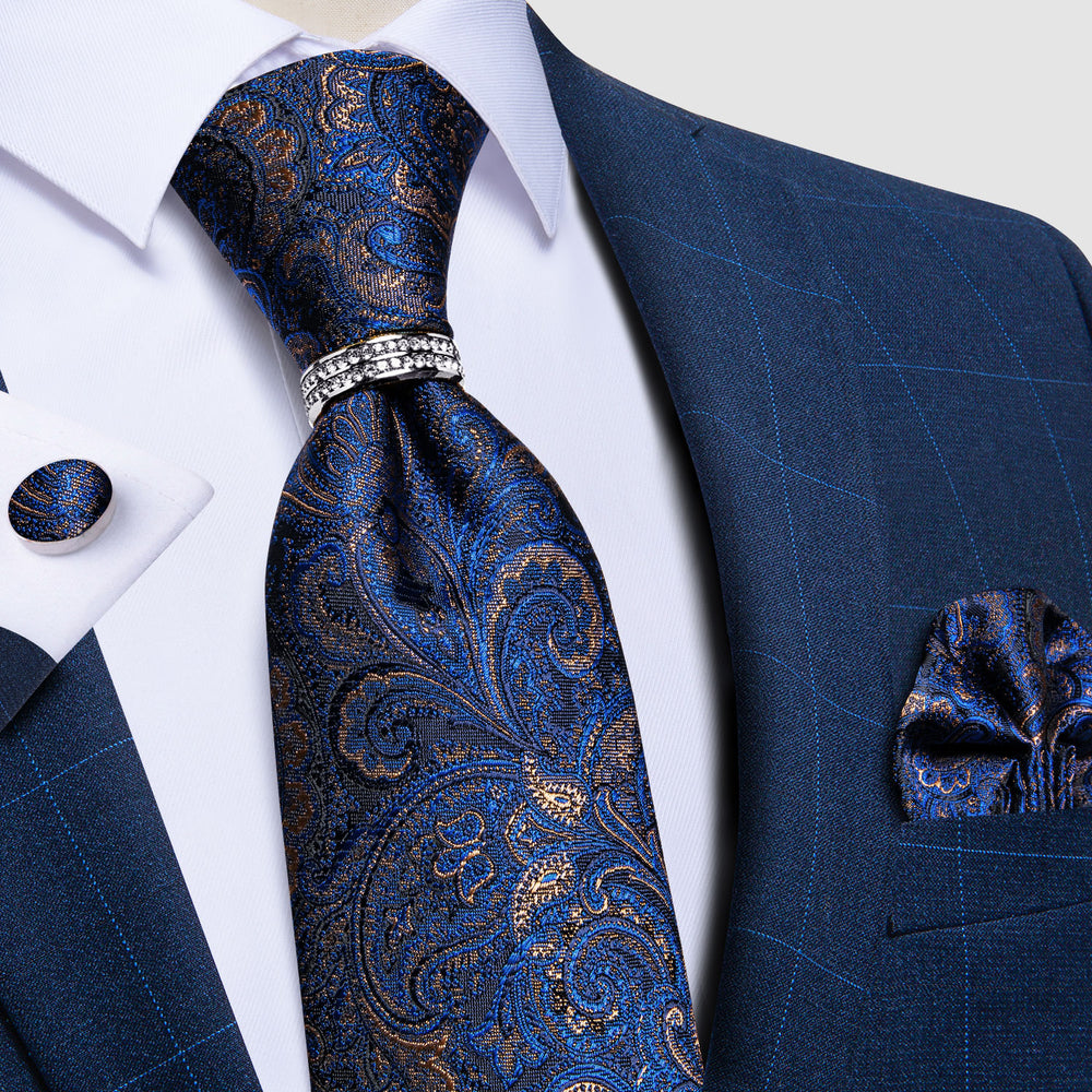 4PCS Blue Brown Paisley  Silk Men's Tie Pocket Square Cufflinks with Tie Ring Set