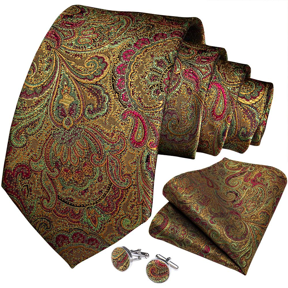 Load image into Gallery viewer, Green Red Paisley  Men's Necktie Handkerchief Cufflinks Set With Lapel Pin Brooch Set