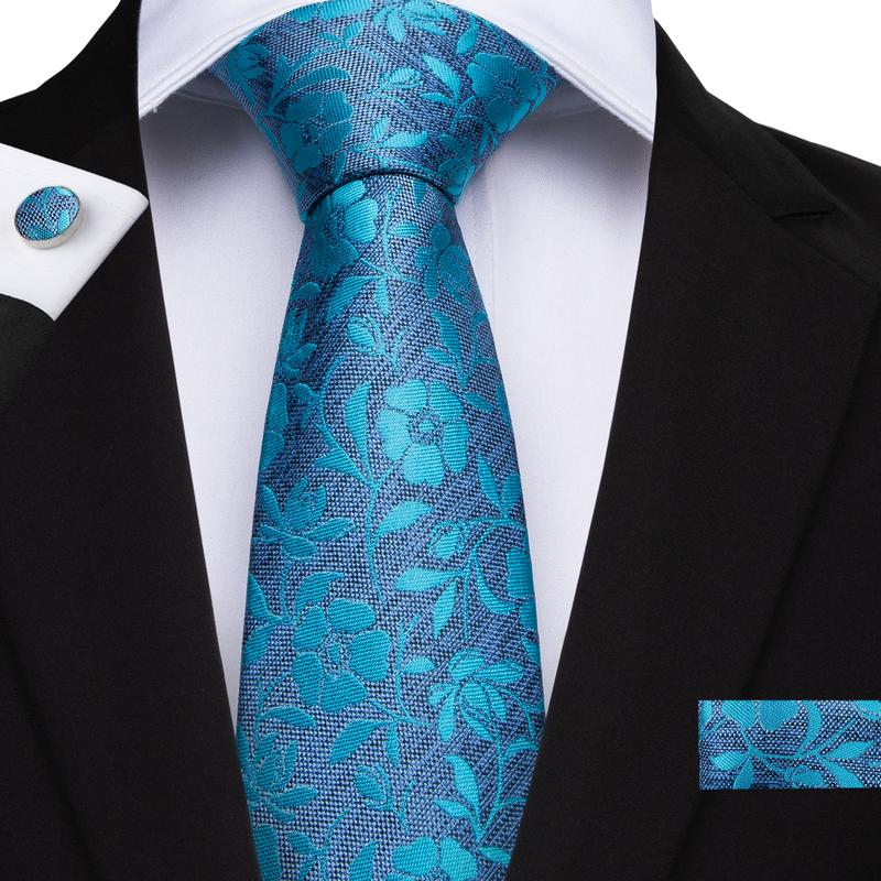 Sea Blue Floral Men's Tie Handkerchief Cufflinks Set (1932233965610)
