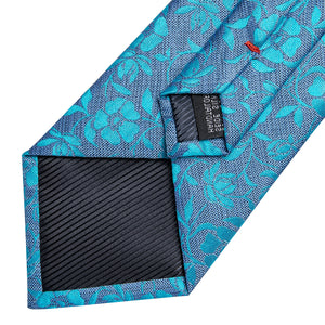 Sea Blue Floral Men's Tie Handkerchief Cufflinks Set
