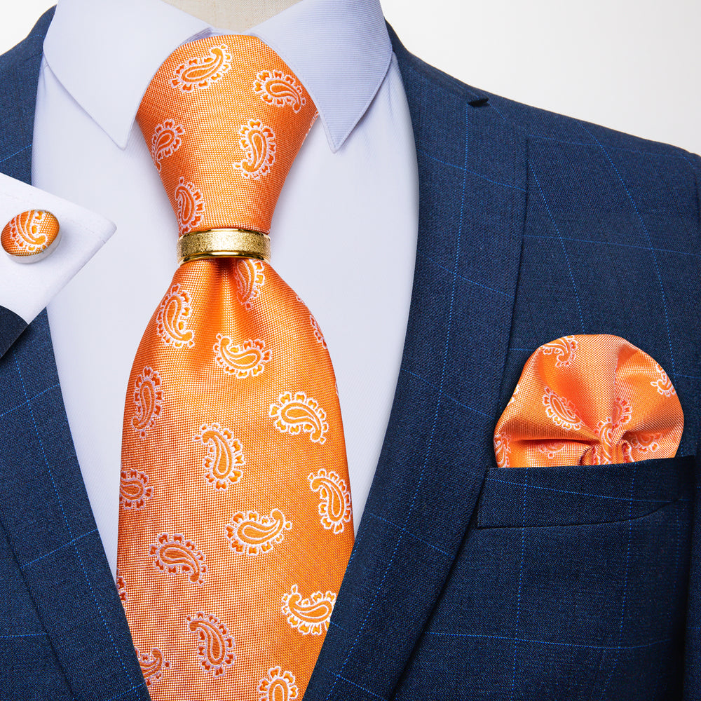 Load image into Gallery viewer, 4PCS Orange Paisley Silk Men's Tie Pocket Square Cufflinks with Tie Ring Set