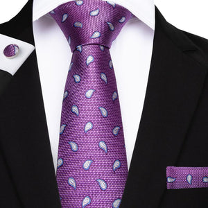 Load image into Gallery viewer, Purple White Paisley Men's Tie Handkerchief Cufflinks Set (1932245991466)