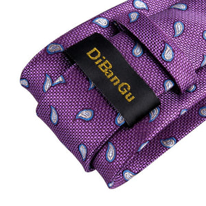 Purple White Paisley Men's Tie Handkerchief Cufflinks Set