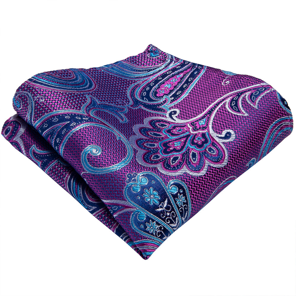 Blue Purple Floral Men's Tie Handkerchief Cufflinks Set