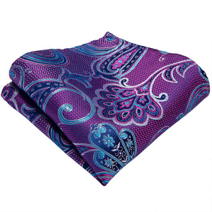 Load image into Gallery viewer, Blue Purple Floral Men's Tie Handkerchief Cufflinks Set