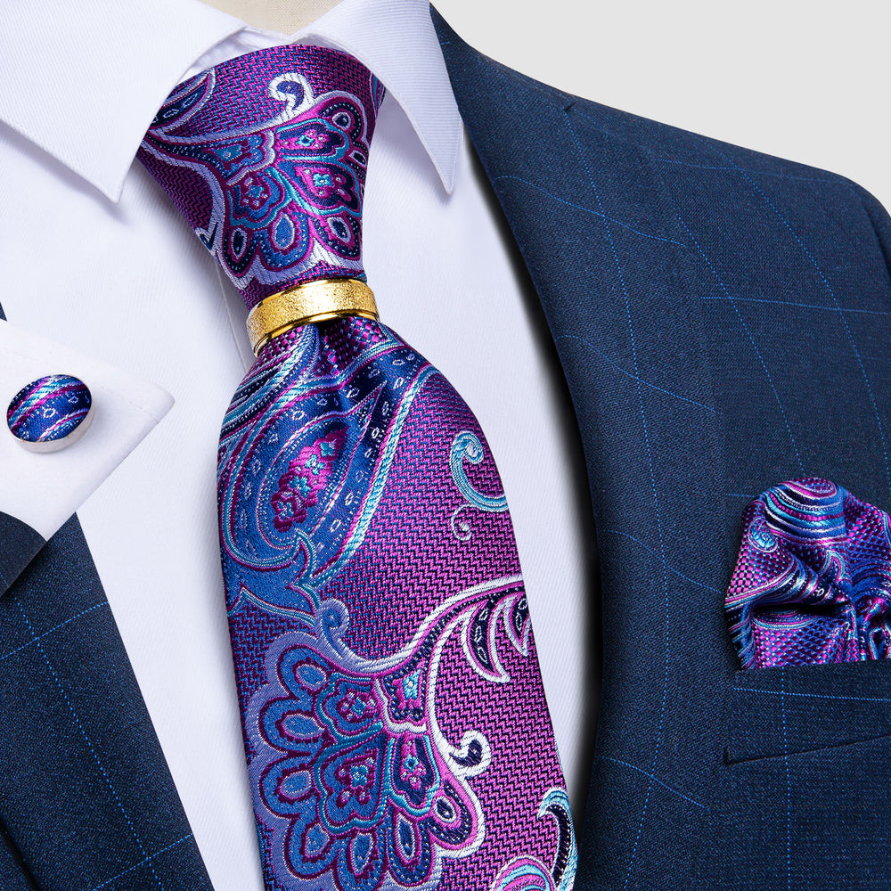 4PCS  Blue Purple Floral Tie Pocket Square Cufflinks with Tie Ring Set