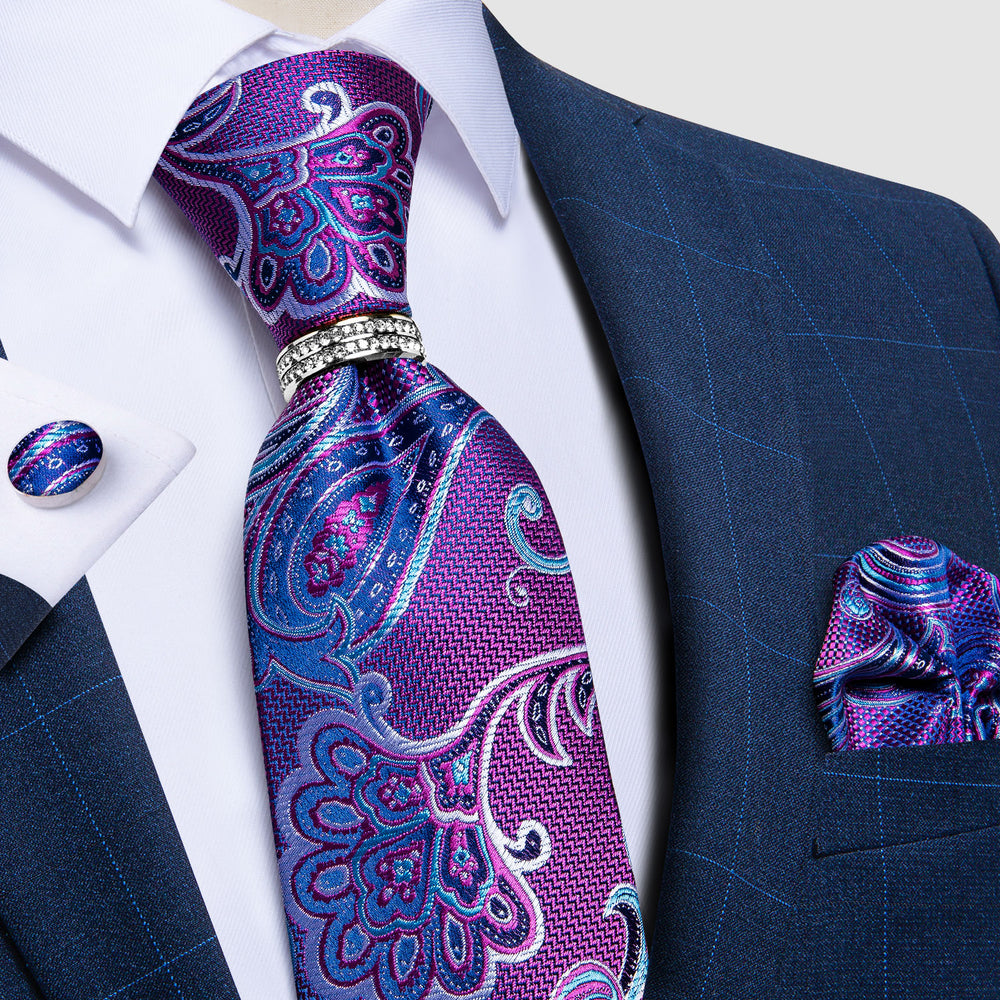 Load image into Gallery viewer, 4PCS  Blue Purple Floral Tie Pocket Square Cufflinks with Tie Ring Set