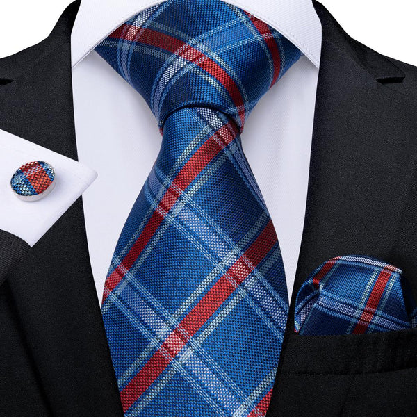 Blue Red Plaid Men's Tie Handkerchief Cufflinks Set