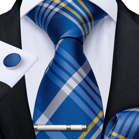 Blue White Striped Men's Tie Handkerchief Cufflinks Clip Set