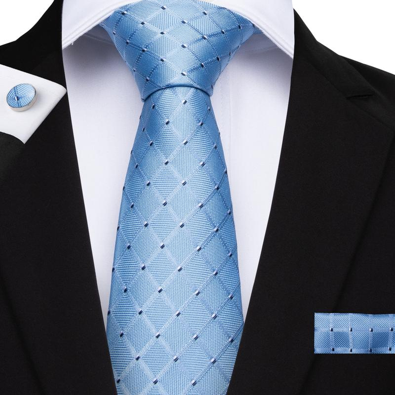 Light Blue Plaid Men's Tie Handkerchief Cufflinks Set (1932379684906)