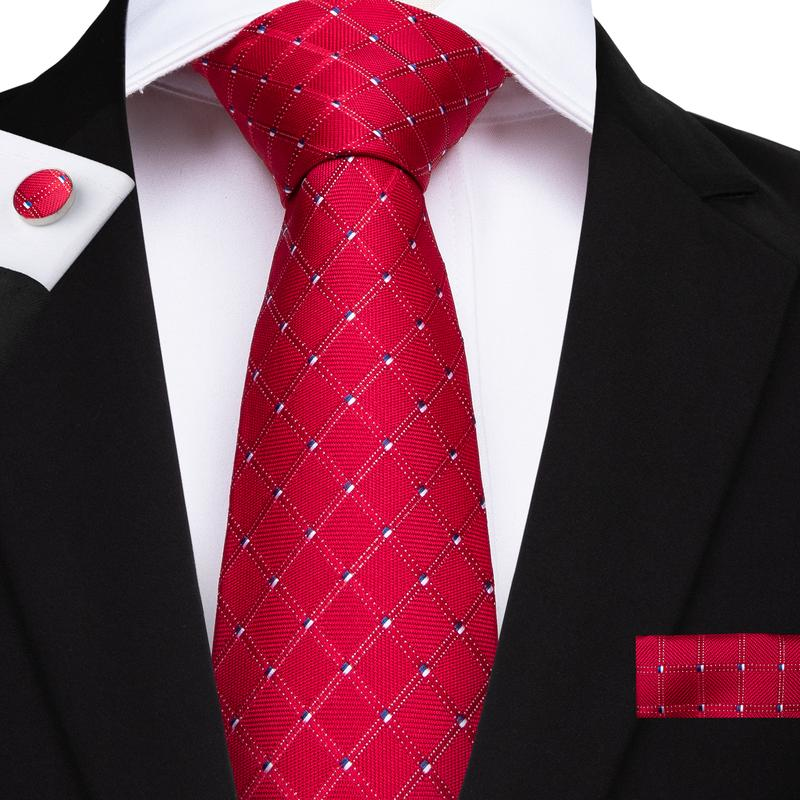 Color Red Plaid Men's Tie Handkerchief Cufflinks Set