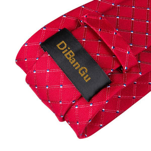 Load image into Gallery viewer, Color Red Plaid Men's Tie Handkerchief Cufflinks Set
