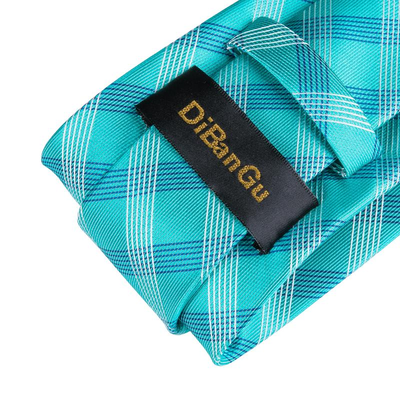 Pale Green Blue Plaid Men's Tie Handkerchief Cufflinks Set