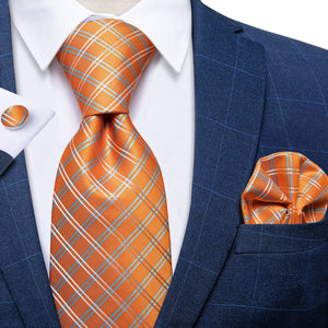 Orange Plaid Men's Tie Handkerchief Cufflinks Set with Tie Tack (4701433430097)