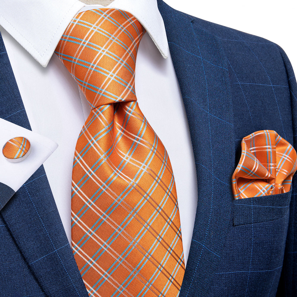Load image into Gallery viewer, Orange Plaid Men's Tie Handkerchief Cufflinks Set with Tie Tack (4701433430097)