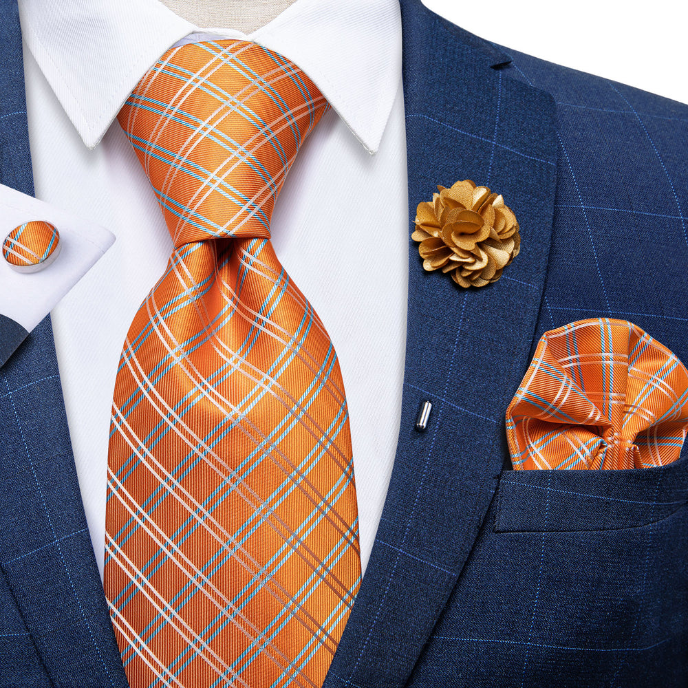 Orange Plaid Silk Men's Necktie Handkerchief Cufflinks Set With Lapel Pin Brooch Set