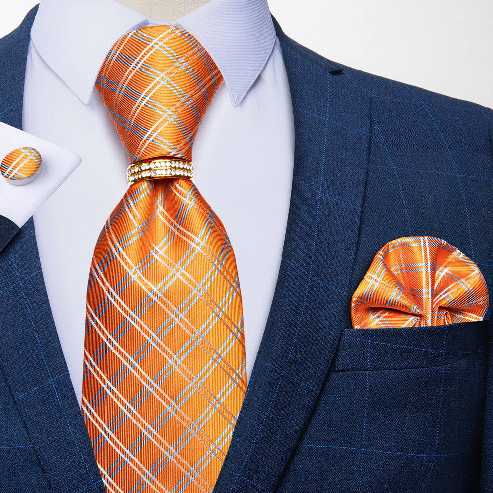 4PCS  Orange Plaid Tie Pocket Square Cufflinks with Tie Ring Set