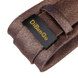 Brown Solid Men's Tie Handkerchief Cufflinks Set