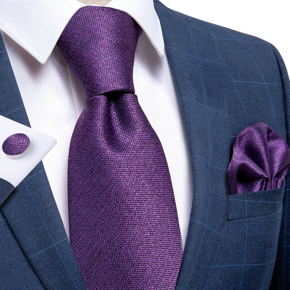 Purple Solid  Men's Tie Handkerchief Cufflinks Set with Tie Tack