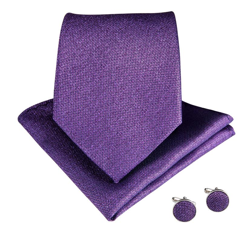 Purple Solid Men's Tie Handkerchief Cufflinks Set (1932389187626)