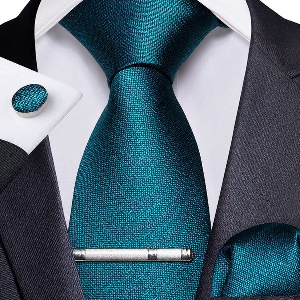 Teal Solid Men's Tie Handkerchief Cufflinks Clip Set