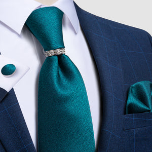 Teal Solid Silk Men's Tie Pocket Square Cufflinks with Tie Ring Set
