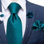 Dark Green Solid Silk Men's Necktie Handkerchief Cufflinks Set With Lapel Pin Brooch Set