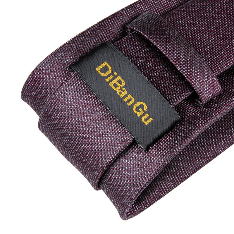 Brown Red Solid Men's Tie Handkerchief Cufflinks Set (1932401573930)