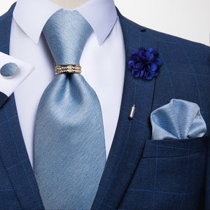 5PCS Pale Blue Solid Tie Pocket Square Cufflinks with Tie Ring Lapel Pin Set