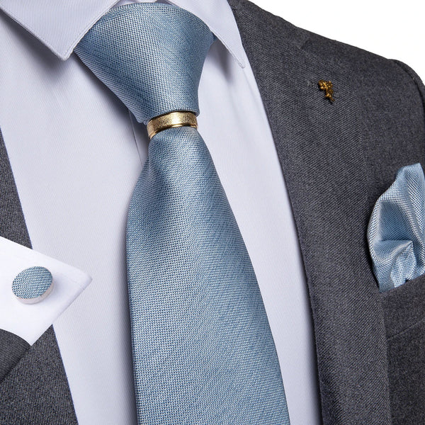 Pale Blue Solid Men's Tie Ring Handkerchief Cufflinks Set