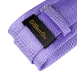 Purple Solid Men's Tie Handkerchief Cufflinks Set